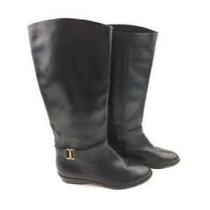 Etienne Aigner Leather Shelby Riding Boots Black